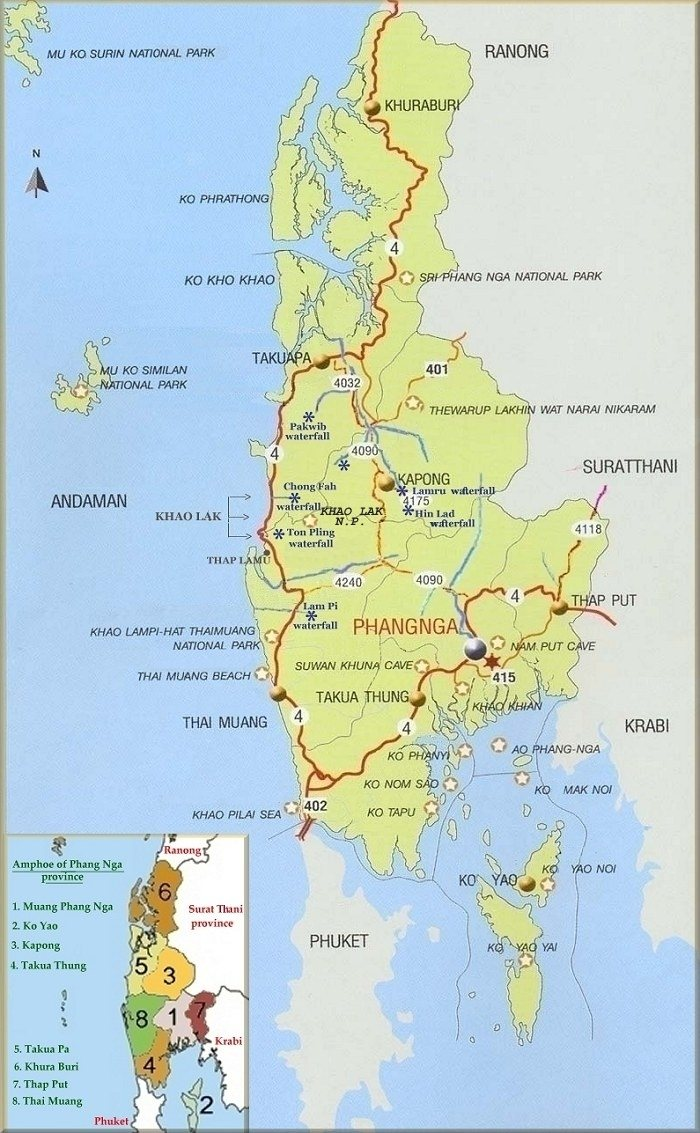 Map of Phang Nga province Thai Muang tourist information guide